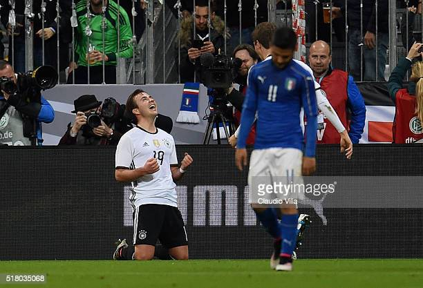 Mario Gotze of Germany celebrates after scoring the second goal during the international friendly match between Germany and Italy at Allianz Arena on...