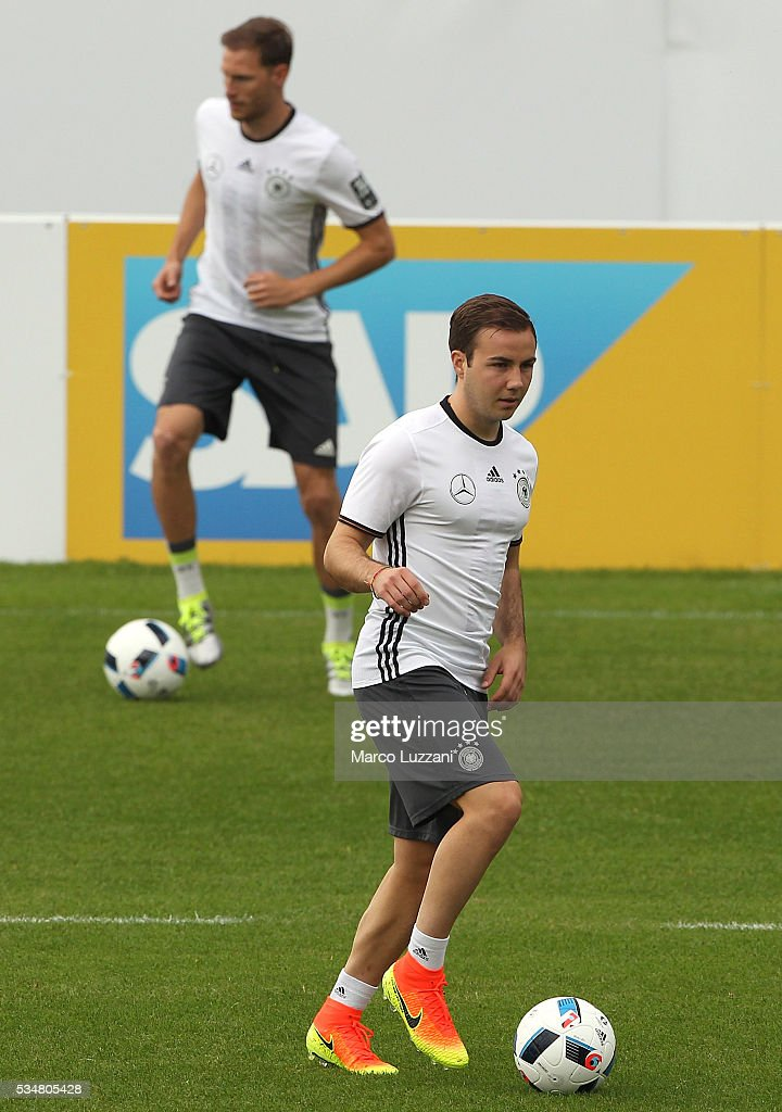 Mario Gotze of Germany in action during the German national team's pre-EURO 2016 training camp on May 28, 2016 in Ascona, Switzerland.