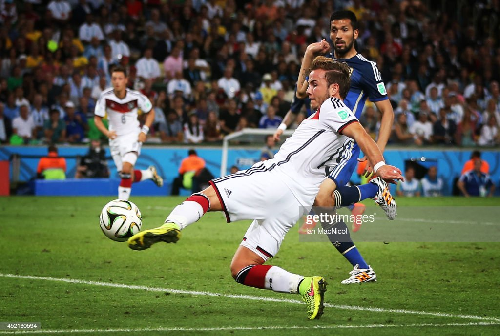 Mario Gotze of Germany scores during the 2014 World Cup final match between Germany and Argentina at The Maracana Stadium on July 13, 2014 in Rio de Janeiro, Brazil.