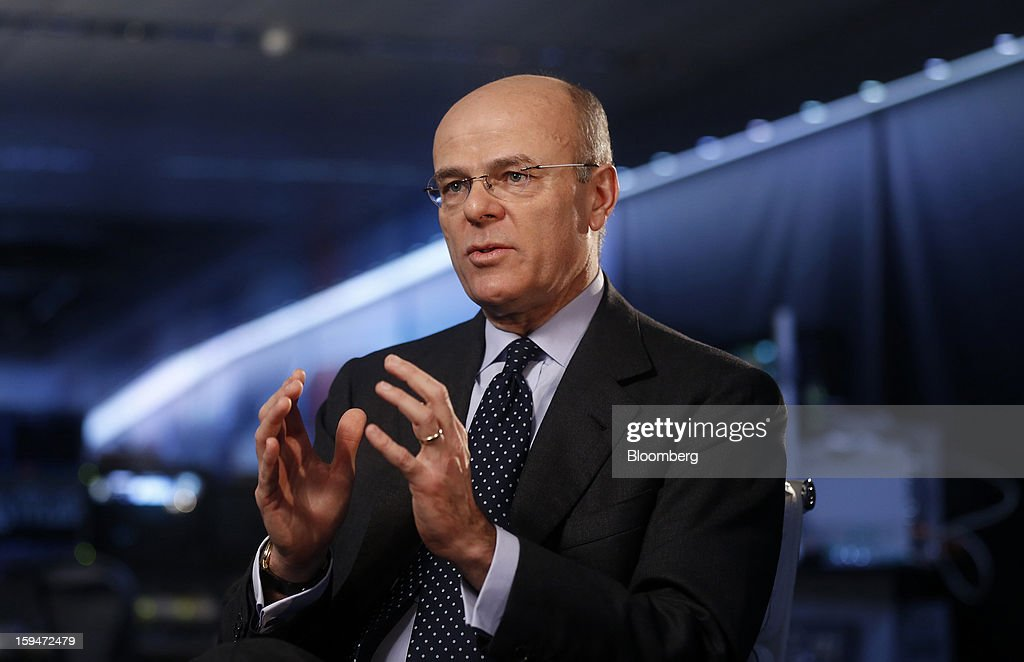 Mario Greco, chief executive officer of Assicurazioni Generali SpA, gestures during a Bloomberg Television interview in London, U.K., on Monday, Jan. 14, 2013. Assicurazioni Generali SpA, Europe's third-largest insurer, plans to cut costs and boost cash flow to more than 2 billion euros ($2.7 billion) by 2015 as it focuses on emerging markets and insurance to restore profitability. Photographer: Simon Dawson/Bloomberg via Getty Images