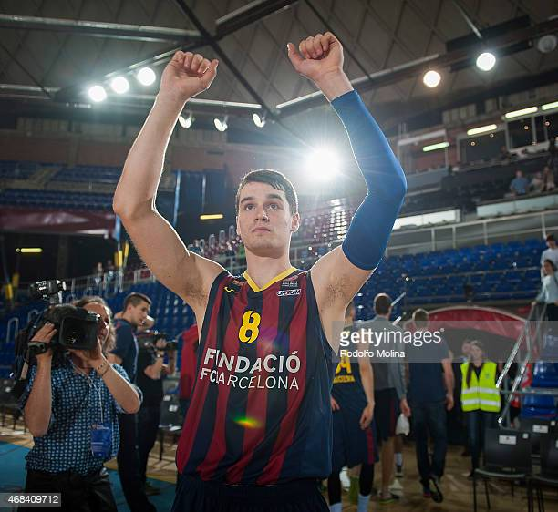 Mario Hezonja #8 of FC Barcelona celabrates after the Turkish Airlines Euroleague Basketball Top 16 Date 13 game between FC Barcelona v Real Madrid...