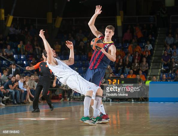 Mario Hezonja #8 of FC Barcelona in action during the 20142015 Turkish Airlines Euroleague Basketball Regular Season Date 3 game between FC Barcelona...
