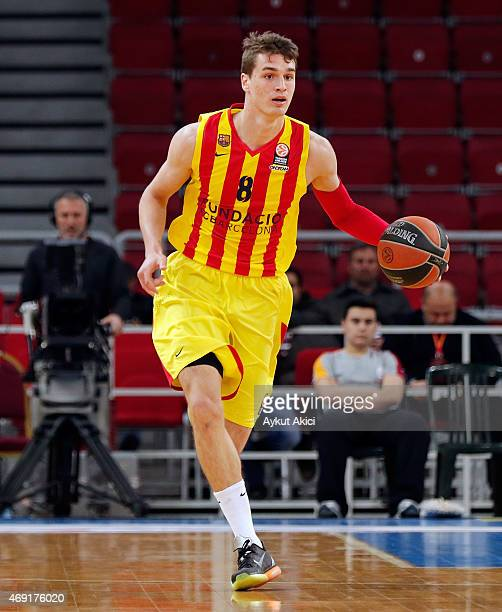 Mario Hezonja #8 of FC Barcelona in action during the Turkish Airlines Euroleague Basketball Top 16 Date 14 game between Galatasaray Liv Hospital...