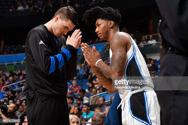 Mario Hezonja and Elfrid Payton of the Orlando Magic are seen before the game against the Charlotte Hornets on March 22 2017 at Amway Center in...