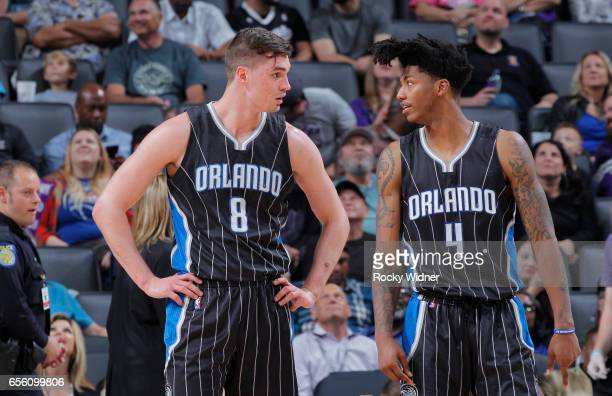 Mario Hezonja and Elfrid Payton of the Orlando Magic talk during the game against the Sacramento Kings on March 13 2017 at Golden 1 Center in...