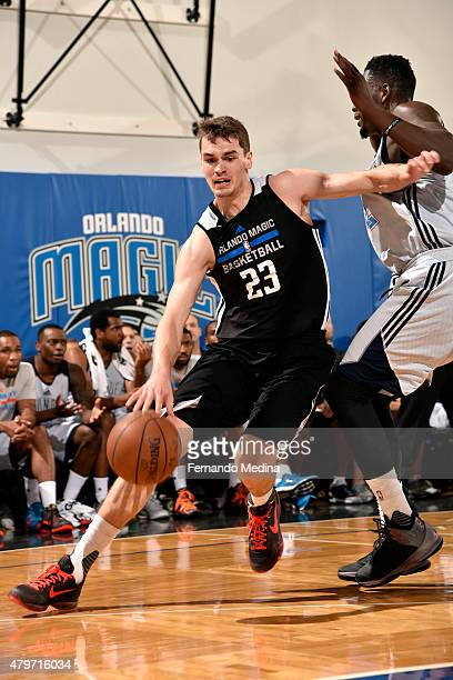 Mario Hezonja of the Orlando Magic Blue drives against the Oklahoma City Thunder on July 6 2015 at Amway Center in Orlando Florida NOTE TO USER User...