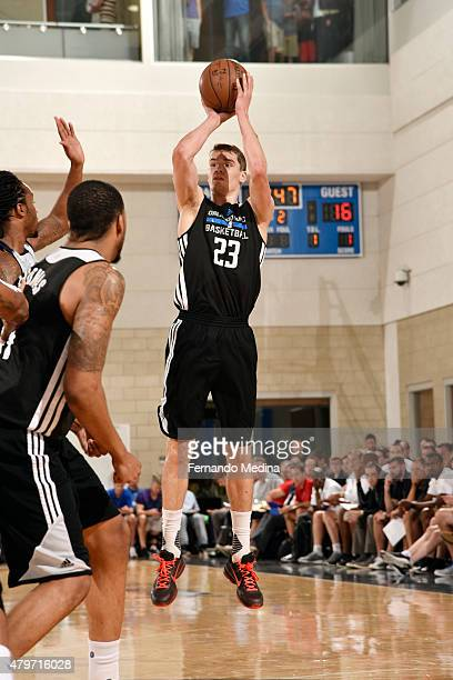 Mario Hezonja of the Orlando Magic Blue shoots against the Oklahoma City Thunder on July 6 2015 at Amway Center in Orlando Florida NOTE TO USER User...