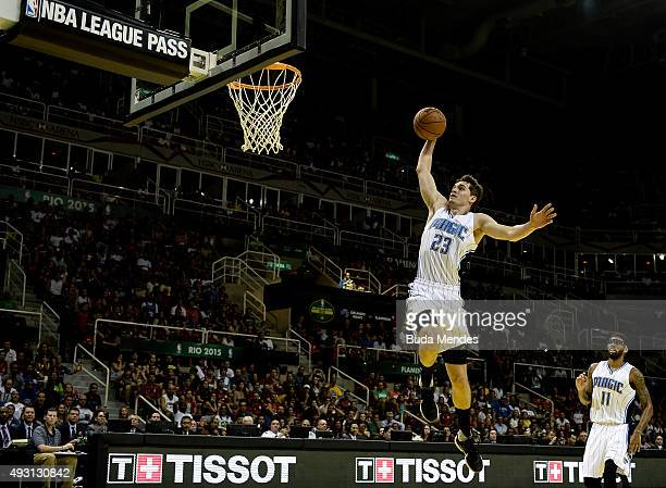Mario Hezonja of the Orlando Magic dunks the ball against CR Flamengo during a NBA Global Games Rio 2015 match at HSBC Arena on October 17 2015 in...