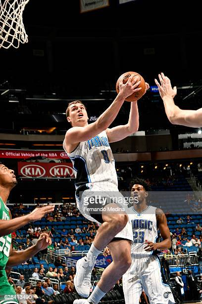 Mario Hezonja of the Orlando Magic goes to the basket during the game against the Boston Celtics on December 7 2016 at Amway Center in Orlando...