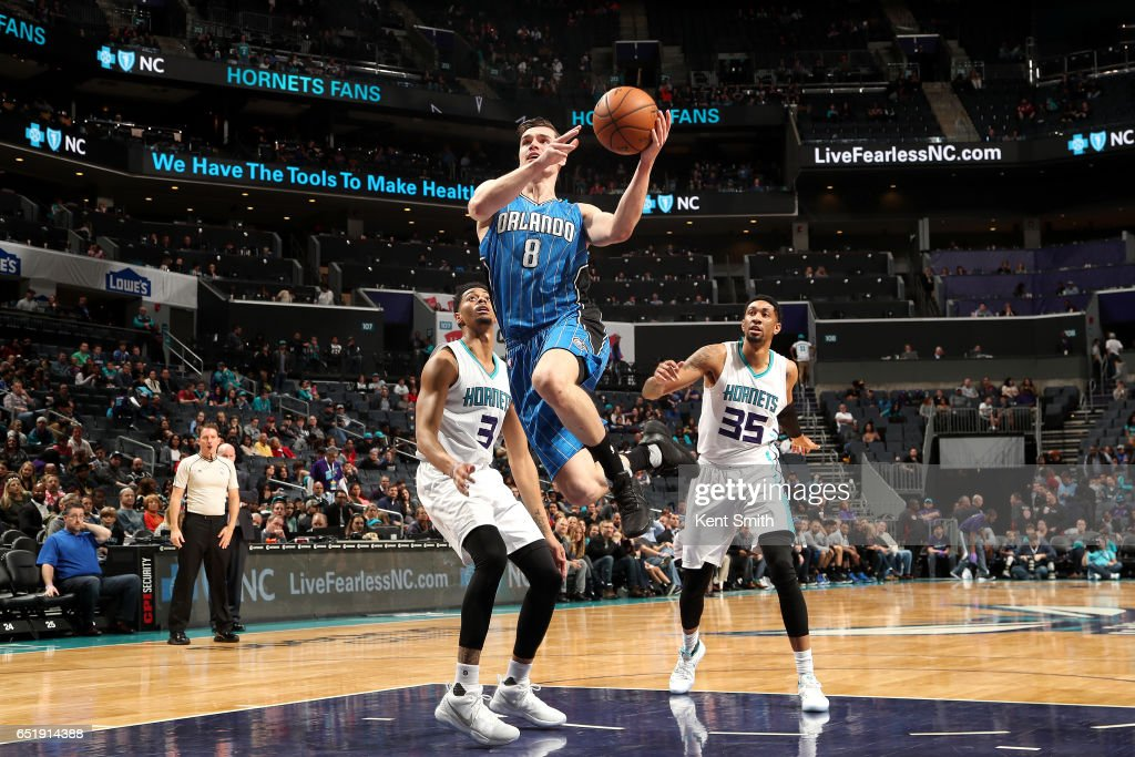 Mario Hezonja #8 of the Orlando Magic goes to the basket during the game against the Charlotte Hornets on March 10, 2017 at Time Warner Cable Arena in Charlotte, North Carolina.
