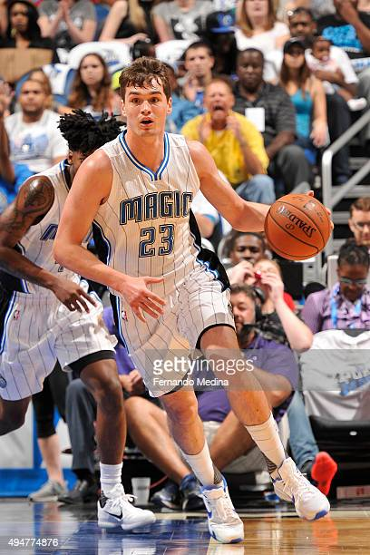 Mario Hezonja of the Orlando Magic handles the ball against the Washington Wizards on October 28 2015 at Amway Center in Orlando Florida NOTE TO USER...