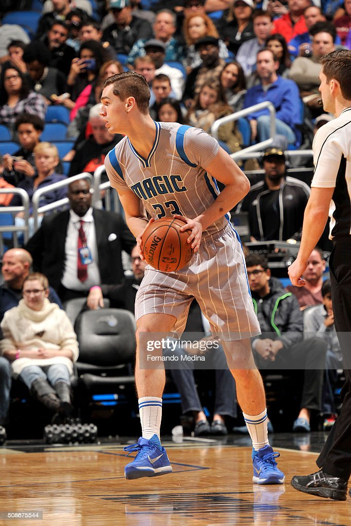 Mario Hezonja #23 of the Orlando Magic handles the ball during the game against the Los Angeles Clippers on February 5, 2016 at Amway Center in Orlando, Florida.