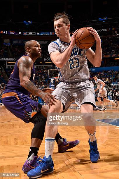 Mario Hezonja of the Orlando Magic handles the ball during the game against the Phoenix Suns on March 4 2016 at Amway Center in Orlando Florida NOTE...