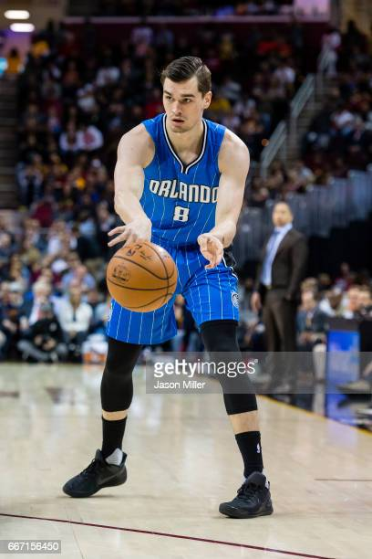Mario Hezonja of the Orlando Magic passes during the first half against the Cleveland Cavaliers at Quicken Loans Arena on April 4 2017 in Cleveland...