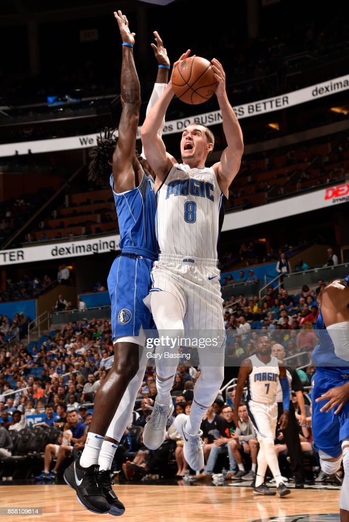 Mario Hezonja #8 of the Orlando Magic shoots the ball against the Dallas Mavericks during a preseason game on October 5, 2017 at Amway Center in Orlando, Florida.