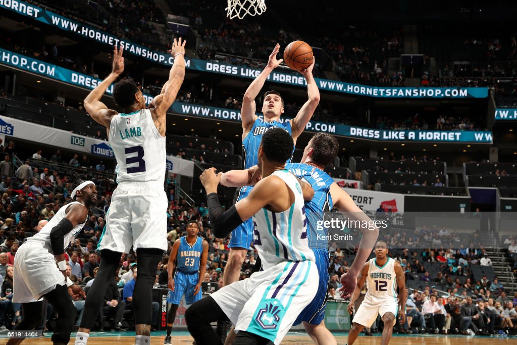 Mario Hezonja #8 of the Orlando Magic shoots the ball during the game against the Charlotte Hornets on March 10, 2017 at Time Warner Cable Arena in Charlotte, North Carolina.