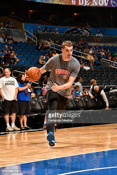 Mario Hezonja of the Orlando Magic warms up before a game against the Washington Wizards on November 5 2016 at the Amway Center in Orlando Florida...