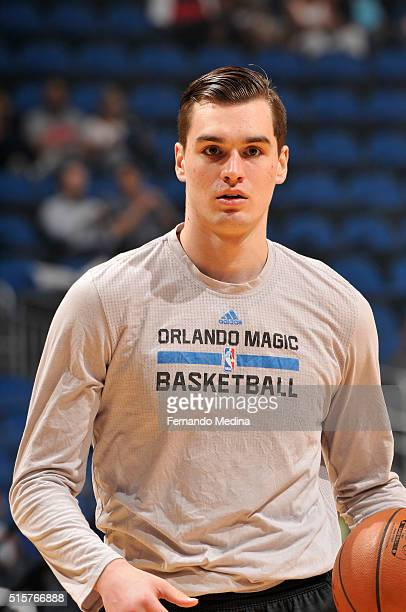 Mario Hezonja of the Orlando Magic warms up before the game against the Denver Nuggets on March 15 2016 at the Amway Center in Orlando Florida NOTE...