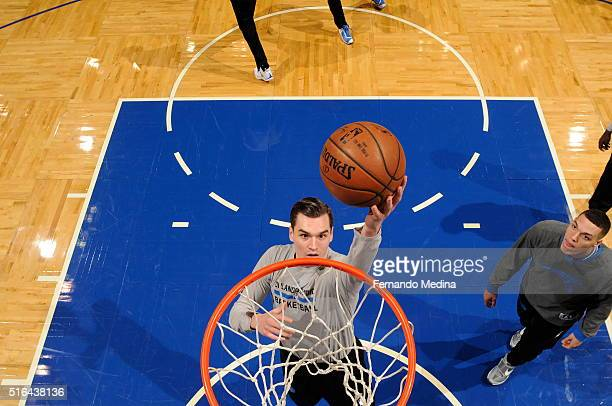 Mario Hezonja of the Orlando Magic warms up before the game against the Cleveland Cavaliers on March 18 2016 at Amway Center in Orlando Florida NOTE...