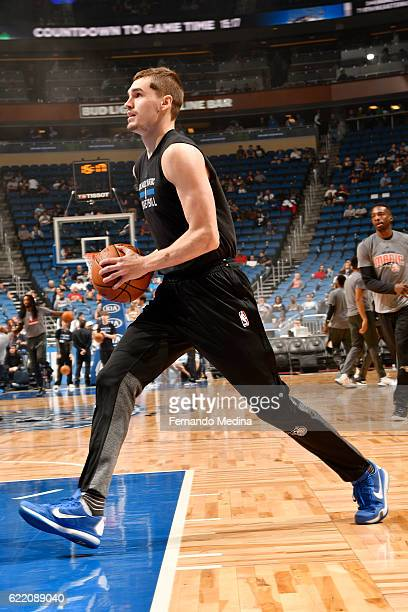 Mario Hezonja of the Orlando Magic warms up before the game against the Minnesota Timberwolves on November 9 2016 at Amway Center in Orlando Florida...