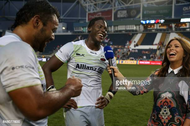 Mario Itoje of the Saracens is interviewed as 'Man of the Match' after defeating the Newcastle Falcons during a Aviva Premiership match between the...