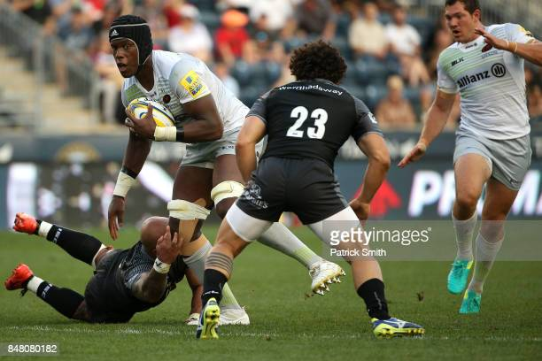 Mario Itoje of the Saracens runs with the ball against the Newcastle Falcons during a Aviva Premiership match between the Newcastle Falcons and the...
