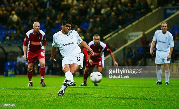 Mario Jardel of Bolton takes a penalty kick which was saved but scored from the rebound during the Carling Cup second round match between Bolton...