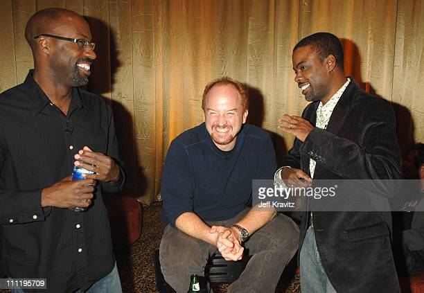 Mario Joyner Louis CK and Chris Rock during HBO AEG Live's 'The Comedy Festival' The Comedian Award Backstage at Caesars Palace in Las Vegas Nevada...