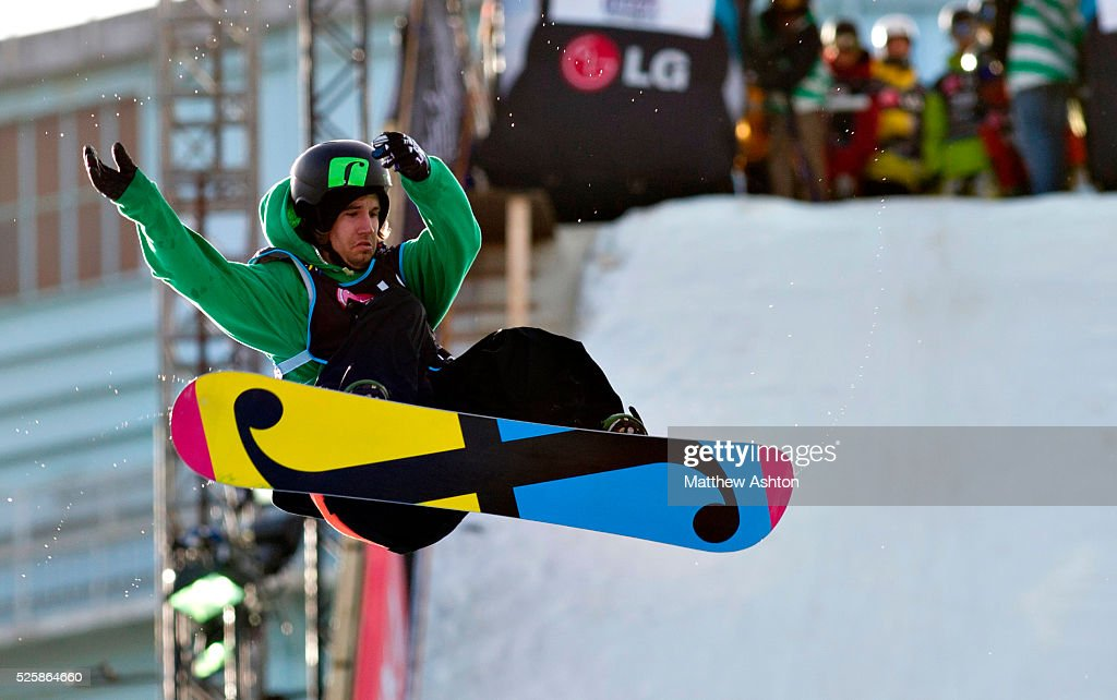Mario Kaeppeli from Switzerland competing in the LG Snowboard International Ski Federation in London