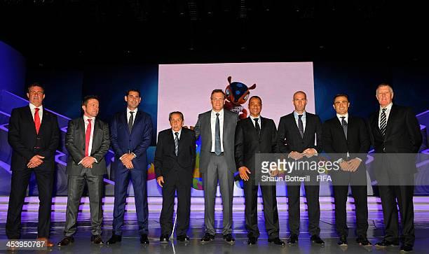 Mario Kempes Lothar Matthaus Fernando Hierro Alcides Ghiggia FIFA Secretary General Jerome Valcke Cafu Zinedine Zidane Fabio Cannavaro and Sir Geoff...