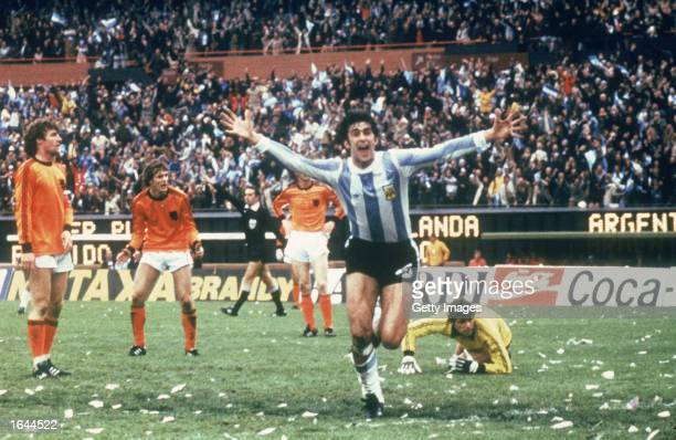 Mario Kempes of Argentina celebrates scoring a goal during the FIFA World Cup Finals 1978 Final between Argentina and Holland held on June 25 1978 at...