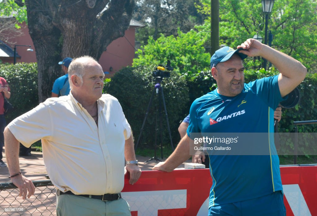Mario Ledesma forwards coach of Australia looks on next to Alejandro Conti coach of Argentinian team San Albano during the Australia Team Announcement and Training Session ahead of the match against Argentina at San Isidro Club on October 05, 2017 in Buenos Aires, Argentina.