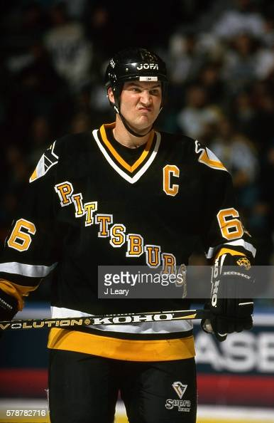 Mario Lemieux of the Pittsburgh Penguins look during the game against the New York Islanders at the Nassau Coliseum on January 7 1997 in Uniondale...