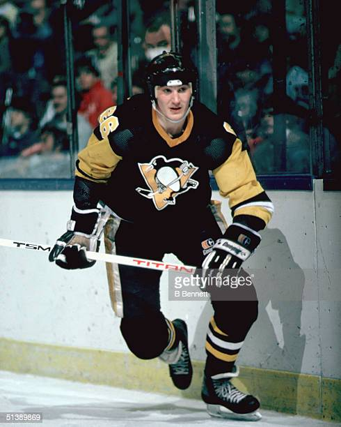Mario Lemieux of the Pittsburgh Penguins skates during an NHL game in his rookie year of 198485