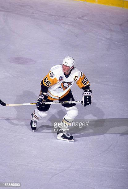 Mario Lemieux of the Pittsburgh Penguins skates on the ice during Game 1 of the 1992 Stanley Cup Finals against the Chicago Blackhawks on May 26 1992...