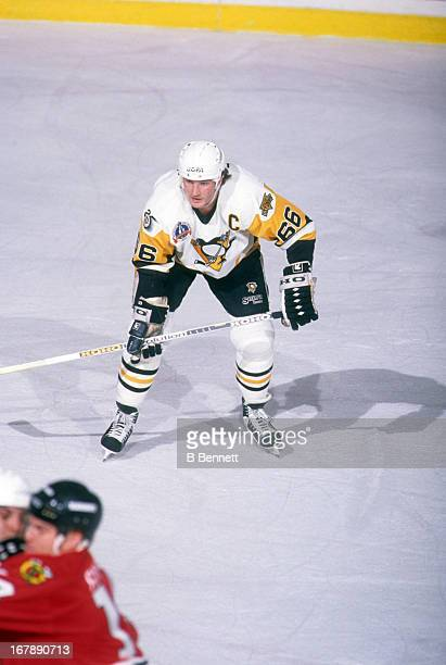 Mario Lemieux of the Pittsburgh Penguins skates on the ice during Game 2 of the 1992 Stanley Cup Finals against the Chicago Blackhawks on May 28 1992...