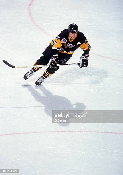 Mario Lemieux of the Pittsburgh Penguins skates on the ice during Game 4 of the 1992 Stanley Cup Finals against the Chicago Blackhawks on June 1 1992...