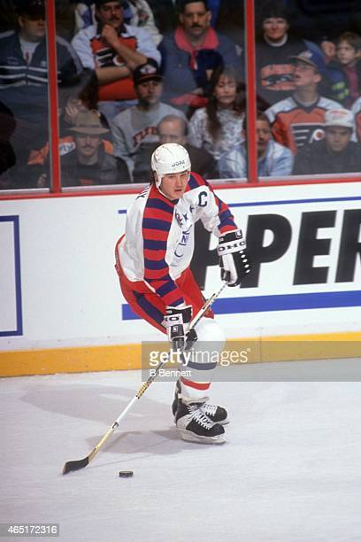 Mario Lemieux of the Wales Conference and the Pittsburgh Penguins skates with the puck during the 1992 43rd NHL AllStar Game against the Campbell...
