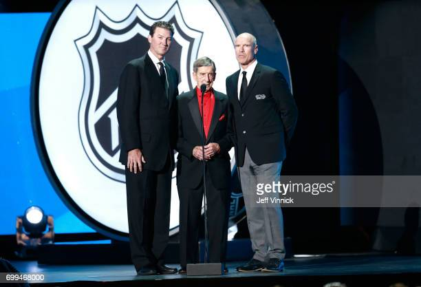 Mario Lemieux Ted Lindsay and Mark Messier speak onstage during the 2017 NHL Awards Expansion Draft at TMobile Arena on June 21 2017 in Las Vegas...