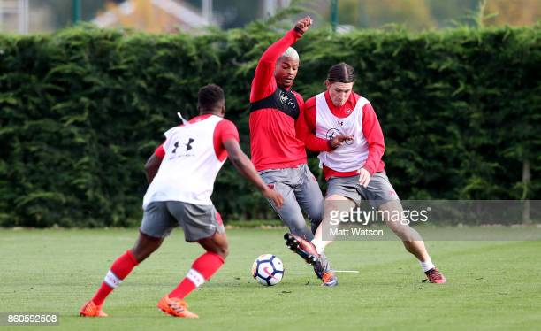 Mario Lemina and PierreEmile Hojbjerg during a Southampton FC training session at the Staplewood Campus on October 12 2017 in Southampton England