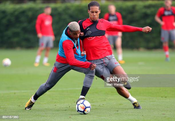 Mario Lemina and Virgil Van Dijk during a Southampton FC training session at the Staplewood Campus on September 26 2017 in Southampton England