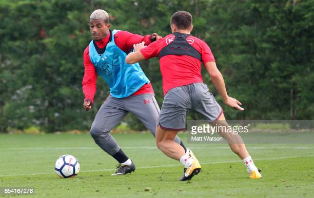 Mario Lemina during a Southampton FC training session at the Staplewood Campus on September 26 2017 in Southampton England