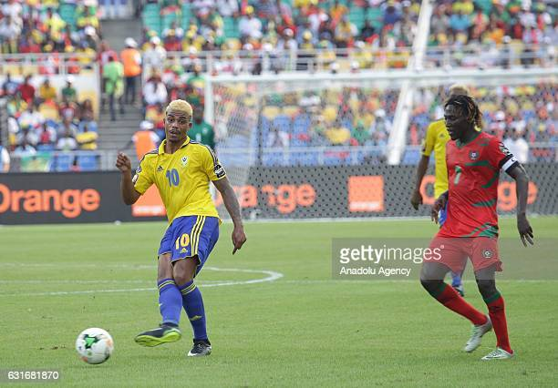 Mario Lemina of Gabon in action against Jose Lopes of GuineaBissau during the Africa Cup of Nations 2017 match between Gabon and GuineaBissau at the...