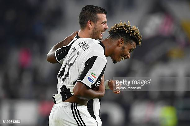 Mario Lemina of Juventus FC celebrates victory with team mate Stefano Sturaro at the end of the Serie A match between Juventus FC and Udinese Calcio...
