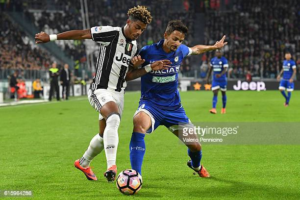 Mario Lemina of Juventus FC competes with Felipe Dal Bello of Udinese Calcio during the Serie A match between Juventus FC and Udinese Calcio at...
