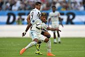 Mario Lemina of Olympique de Marseille is challenged by Alvaro Morata of Juventus FC during the preseason friendly match between Olympique de...