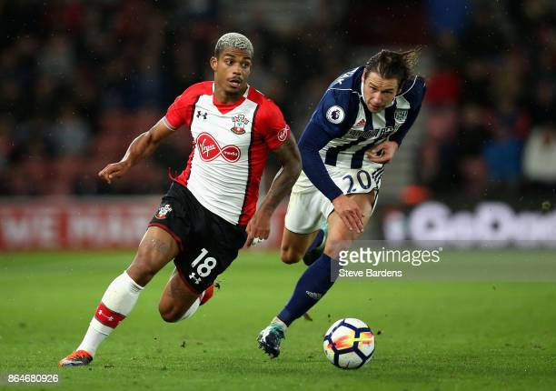 Mario Lemina of Southampton and Grzegorz Krychowiak of West Bromwich Albion battle for possession during the Premier League match between Southampton...