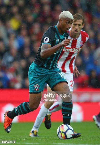 Mario Lemina of Southampton during the Premier League match between Stoke City and Southampton at Bet365 Stadium on September 30 2017 in Stoke on...