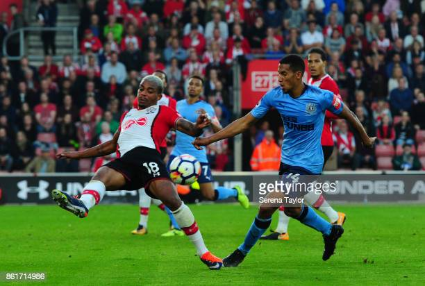 Mario Lemina of Southampton FC clears the ball away from Isaac Hayden of Newcastle United during the Premier League match between Southampton and...
