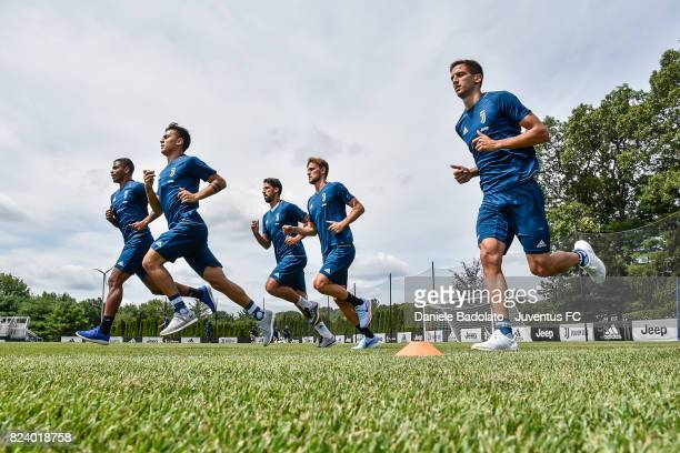 Mario Lemina Paulo Dybala Sami Khedira Daniele Rugani and Rodrigo Bentancur during the morning training session on July 28 2017 in Boston City